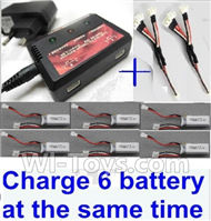 Wltoys XK A600 Parts-Upgrade charger and balance chager & 2pcs 1-To-3 convert wire & 6pcs battery-Total can charge 6x battery and the same time,Wltoys XK A600 RC Plane Parts,XK DHC-2 A600 RC RC Fixed Wing Plane Parts
