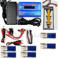 XK X450 Parts-6pcs 1100mah battery & Upgrade Charger unit,Can charger 6x battery at the same time(Power & B6 Charger & 1-To-6 Parallel charging Board),XK A450 Vtol Aviator Parts,XK X450 RC Plane Parts