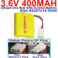 400mah 3.6V NiCd Battery Pack-3.6 Volt 400mah Ni-CD Rechargeable Battery-With Datian Palace-2P Plug(The D-Shape hole is Black wire)-(Shape-M-Shape,One Row with 3 Inner-Battery)-Size-42x51x14.5mm