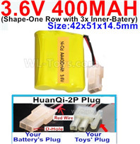 400mah 3.6V NiCd Battery Pack-3.6 Volt 400mah Ni-CD Rechargeable Battery-With HuanQi-2P plug(1X Square hole+ 1X D-Shape Hole.The D-Shape Hole is Red Wire)-(Shape-M-Shape,One Row with 3 Inner-Battery)-Size-42x51x14.5mm