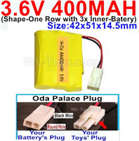 400mah 3.6V NiCd Battery Pack-3.6 Volt 400mah Ni-CD Rechargeable Battery-With Oda Palace Plug(Round hole-Black Wire)-(Shape-M-Shape,One Row with 3 Inner-Battery)-Size-42x51x14.5mm