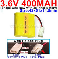 400mah 3.6V NiCd Battery Pack-3.6 Volt 400mah Ni-CD Rechargeable Battery-With Oda Palace Plug(Round hole-Red Wire)-(Shape-M-Shape,One Row with 3 Inner-Battery)-Size-42x51x14.5mm