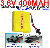 400mah 3.6V NiCd Battery Pack-3.6 Volt 400mah Ni-CD Rechargeable Battery-With SM Plug-(Shape-M-Shape,One Row with 3 Inner-Battery)-Size-42x51x14.5mm