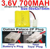 700mah 3.6V NiCd Battery Pack-3.6 Volt 700mah Ni-CD Rechargeable Battery-With Datian Palace-2P Plug(The D-Shape hole is Black wire)-(Shape-One Row with 3X Inner-Battery)-Size-50x42x15mm