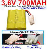700mah 3.6V NiCd Battery Pack-3.6 Volt 700mah Ni-CD Rechargeable Battery-With HuanQi-2P plug(1X Square hole+ 1X D-Shape Hole.The D-Shape Hole is Red Wire)-(Shape-One Row with 3X Inner-Battery)-Size-50x42x15mm