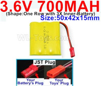 700mah 3.6V NiCd Battery Pack-3.6 Volt 700mah Ni-CD Rechargeable Battery-With JST Plug-(Shape-One Row with 3X Inner-Battery)-Size-50x42x15mm