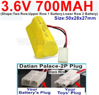 700mah 3.6V NiCd Battery Pack-3.6 Volt 700mah Ni-CD Rechargeable Battery-With Datian Palace-2P Plug(The D-Shape hole is Black wire)-(Shape-Two Row,Upper Row 1 Battery,Lower Row 2 Battery)-Size-50x28x27mm