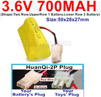 700mah 3.6V NiCd Battery Pack-3.6 Volt 700mah Ni-CD Rechargeable Battery-With HuanQi-2P plug(1X Square hole+ 1X D-Shape Hole.The D-Shape Hole is Red Wire)-(Shape-Two Row,Upper Row 1 Battery,Lower Row 2 Battery)-Size-50x28x27mm