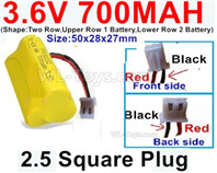 700mah 3.6V NiCd Battery Pack-3.6 Volt 700mah Ni-CD Rechargeable Battery-With 2.5 Square Plug(Front side-Left Red Wire-Back side-Left Black Wire)-(Shape-Two Row,Upper Row 1 Battery,Lower Row 2 Battery)-Size-50x28x27mm