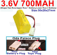 700mah 3.6V NiMH Battery Pack-3.6 Volt 700mah Battery Akku-With Oda Palace Plug(Round hole-Black Wire)-(Shape-Two Row,Upper Row 1 Battery,Lower Row 2 Battery)-Size-50x28x27mm,3.6V NiMH Rechargeable Battery