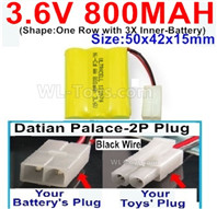 800mah 3.6V NiCd Battery Pack-3.6 Volt 800mah Ni-CD Rechargeable Battery-With Datian Palace-2P Plug(The D-Shape hole is Black wire)-(Shape-One Row with 3X Inner-Battery)-Size-50x42x15mm