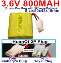 800mah 3.6V NiMH Battery Pack-3.6 Volt 800mah Battery Akku-With HuanQi-2P plug(1X Square hole+ 1X D-Shape Hole.The D-Shape Hole is Red Wire)-(Shape-One Row with 3X Inner-Battery)-Size-50x42x15mm,3.6V NiMH Rechargeable Battery