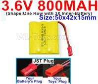 800mah 3.6V NiMH Battery Pack-3.6 Volt 800mah Battery Akku-With JST Plug-(Shape-One Row with 3X Inner-Battery)-Size-50x42x15mm,3.6V NiMH Rechargeable Battery