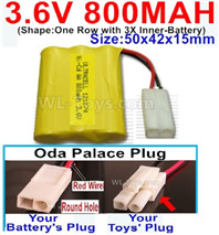 800mah 3.6V NiMH Battery Pack-3.6 Volt 800mah Battery Akku-With Oda Palace Plug(Round hole-Red Wire)-(Shape-One Row with 3X Inner-Battery)-Size-50x42x15mm,3.6V NiMH Rechargeable Battery