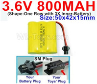 800mah 3.6V NiCd Battery Pack-3.6 Volt 800mah Ni-CD Rechargeable Battery-With SM Plug-(Shape-One Row with 3X Inner-Battery)-Size-50x42x15mm