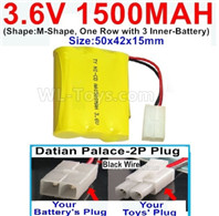 1500mah 3.6V NiMH Battery Pack-3.6 Volt 1500mah Battery Akku-With HuanQi-2P plug(1X Square hole+ 1X D-Shape Hole.The D-Shape Hole is Red Wire)-(Shape-Two Row,Upper Row 1 Battery,Lower Row 2 Battery)-Size-50x28x27mm,3.6V NiMH Rechargeable Battery
