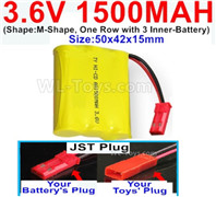 1500mah 3.6V NiCd Battery Pack-3.6 Volt 1500mah Ni-CD Rechargeable Battery-With 2.5 Square Plug(Front side-Left Black Wire-Back side-Left Red Wire)-(Shape-Two Row,Upper Row 1 Battery,Lower Row 2 Battery)-Size-50x28x27mm