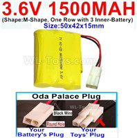 1500mah 3.6V NiCd Battery Pack-3.6 Volt 1500mah Ni-CD Rechargeable Battery-With 2.5 Square Plug(Front side-Left Red Wire-Back side-Left Black Wire)-(Shape-Two Row,Upper Row 1 Battery,Lower Row 2 Battery)-Size-50x28x27mm