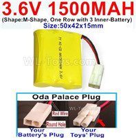 1500mah 3.6V NiCd Battery Pack-3.6 Volt 1500mah Ni-CD Rechargeable Battery-With Oda Palace Plug(Round hole-Red Wire)-(Shape-Two Row,Upper Row 1 Battery,Lower Row 2 Battery)-Size-50x28x27mm