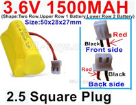 1500mah 3.6V NiMH Battery Pack-3.6 Volt 1500mah Battery Akku-With HuanQi-2P plug(1X Square hole+ 1X D-Shape Hole.The D-Shape Hole is Red Wire)-(Shape-M-Shape,One Row with 3 Inner-Battery)-Size-50x42x15mm,3.6V NiMH Rechargeable Battery