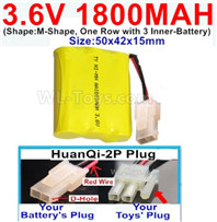 1800mah 3.6V NiMH Battery Pack-3.6 Volt 1800mah Battery Akku-With HuanQi-2P plug(1X Square hole+ 1X D-Shape Hole.The D-Shape Hole is Red Wire)-(Shape-M-Shape,One Row with 3 Inner-Battery)-Size-50x42x15mm,3.6V NiMH Rechargeable Battery
