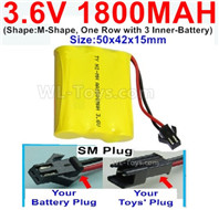 1800mah 3.6V NiMH Battery Pack-3.6 Volt 1800mah Battery Akku-With SM Plug-(Shape-M-Shape,One Row with 3 Inner-Battery)-Size-50x42x15mm,3.6V NiMH Rechargeable Battery