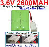 2600mah 3.6V NiMH Battery Pack-3.6 Volt 2600mah Battery Akku-With Datian Palace-2P Plug(The D-Shape hole is Black wire)-(Shape-One Row with 3 Inner-Battery)-Size-42x50x15mm,3.6V NiMH Rechargeable Battery