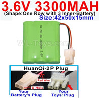 3300mah 3.6V NiMH Battery Pack-3.6 Volt 3300mah Battery Akku-With HuanQi-2P plug(1X Square hole+ 1X D-Shape Hole.The D-Shape Hole is Red Wire)-(Shape-One Row with 3 Inner-Battery)-Size-42x50x15mm,3.6V NiMH Rechargeable Battery