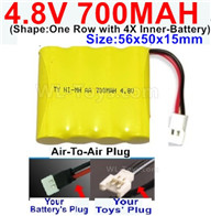 4.8V NiMH Battery Pack-700MAH,4.8 Volt NiMH Battery 700MAH,With Air-To-Air Plug(Shape-One Row with 4X Inner battery)-Size-56x50x15mm,4.8 Volt NiMH Battery