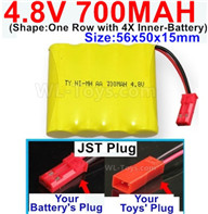 4.8V NiMH Battery Pack-700mah 4.8 Volt NiMH Battery 700MAH,With JST Plug-(Shape-One Row with 4X Inner battery)-Size-56x50x15mm,4.8 Volt NiMH Battery