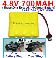 4.8V NiMH Battery Pack-700mah 4.8 Volt NiMH Battery 700MAH,With SM Plug-(Shape-One Row with 4X Inner battery)-Size-56x50x15mm,4.8 Volt NiMH Battery