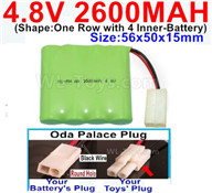 4.8V NiMH Battery Pack-2600mah 4.8 Volt NiMH Battery 2600MAH,With Oda Palace Plug(Round hole-Black Wire)-(Shape-One Row with 4 Inner-Battery),4.8V NiMH Battery Pack-2600mah 4.8 Volt NiMH Battery NI-MH Battery 2600MAH,4.8 Volt NiMH Battery