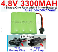 4.8V NiMH Battery Pack-3300mah 4.8 Volt NiMH Battery 3300MAH,With SM Plug-(Shape-One Row with 4 Inner-Battery),4.8V NiMH Battery Pack-3300mah 4.8 Volt NiMH Battery NI-MH Battery 3300MAH,4.8 Volt NiMH Battery