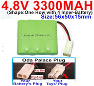 4.8V NiMH Battery Pack-3300mah 4.8 Volt NiMH Battery 3300MAH,With Oda Palace Plug(Round hole-Red Wire)-(Shape-One Row with 4 Inner-Battery),4.8V NiMH Battery Pack-3300mah 4.8 Volt NiMH Battery NI-MH Battery 3300MAH,4.8 Volt NiMH Battery