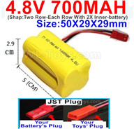 4.8V NiMH Battery Pack-700mah 4.8 Volt NiMH Battery 700MAH,With JST Plug-(Shap-Two Row-Each Row With 2X Inner-battery)-Size-50X29X29mmbe suit for RC Truck,RC Car,RC Boat,RC Robot,rc Tank,rc Quadcoter,Drone,RC Helicopter,rc toys etc.