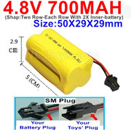 4.8V NiMH Battery Pack-700mah 4.8 Volt NiMH Battery 700MAH,With SM Plug-(Shap-Two Row-Each Row With 2X Inner-battery)-Size-50X29X29mmbe suit for RC Truck,RC Car,RC Boat,RC Robot,rc Tank,rc Quadcoter,Drone,RC Helicopter,rc toys etc.