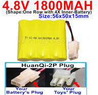 4.8V NiMH Battery Pack-1800mah 4.8 Volt NiMH Battery 1800MAH,With HuanQi-2P plug(1X Square hole+ 1X D-Shape Hole.The D-Shape Hole is Red Wire)-(Shape-One Row with 4X Inner battery)-Size-56x50x15mm,4.8 Volt NiMH Battery