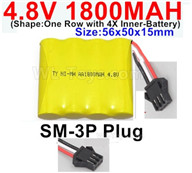 4.8V NiMH Battery Pack-1800mah 4.8 Volt NiMH Battery 1800MAH,With SM-3P Plug-(Shape-One Row with 4X Inner battery)-Size-56x50x15mm,4.8 Volt NiMH Battery