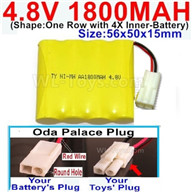 4.8V NiMH Battery Pack-1800mah 4.8 Volt NiMH Battery 1800MAH,With Oda Palace Plug(Round hole-Red Wire)-(Shape-One Row with 4X Inner battery)-Size-56x50x15mm,4.8 Volt NiMH Battery