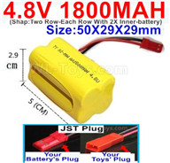 4.8V NiMH Battery Pack-1800mah 4.8 Volt NiMH Battery 1800MAH,With JST Plug-(Shap-Two Row-Each Row With 2X Inner-battery)-Size-50X29X29mm,4.8 Volt NiMH Battery