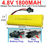 4.8V NiMH Battery Pack-1800mah 4.8 Volt NiMH Battery 1800MAH,With SM Plug(Shape-Two Row,Each Row with 2 Inner-battery),4.8 Volt NiMH Battery