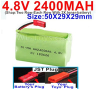 4.8V NiMH Battery Pack-2400mah 4.8 Volt NiMH Battery 2400MAH,With JST Plug-(Shap-Two Row-Each Row With 2X Inner-battery)-Size-50X29X29mm,4.8V NiMH Battery Pack-2400mah 4.8 Volt NiMH Battery NI-MH Battery 2400MAH,4.8 Volt NiMH Battery