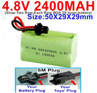 4.8V NiMH Battery Pack-2400mah 4.8 Volt NiMH Battery 2400MAH,With SM Plug-(Shap-Two Row-Each Row With 2X Inner-battery)-Size-50X29X29mm,4.8V NiMH Battery Pack-2400mah 4.8 Volt NiMH Battery NI-MH Battery 2400MAH,4.8 Volt NiMH Battery
