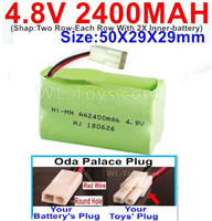 4.8V NiMH Battery Pack-2400mah 4.8 Volt NiMH Battery 2400MAH,With Oda Palace Plug(Round hole-Red Wire)-(Shap-Two Row-Each Row With 2X Inner-battery)-Size-50X29X29mm,4.8V NiMH Battery Pack-2400mah 4.8 Volt NiMH Battery NI-MH Battery 2400MAH,4.8 Volt NiMH B