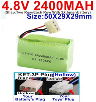 4.8V NiMH Battery Pack-2400mah 4.8 Volt NiMH Battery 2400MAH,With KET-3P Plug(Hollow)-(2X Suare Hole+1X D-Shape Hole,The Middle hole is Black wire)-(Shap-Two Row-Each Row With 2X Inner-battery)-Size-50X29X29mm,4.8V NiMH Battery Pack-2400mah 4.8 Volt NiMH