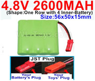 4.8V NiMH Battery Pack-2600mah 4.8 Volt NiMH Battery 2600MAH,With JST Plug-(Shape-One Row with 4 Inner-Battery),4.8V NiMH Battery Pack-2600mah 4.8 Volt NiMH Battery NI-MH Battery 2600MAH,4.8 Volt NiMH Battery