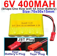 400mah 6V NiCd Battery Pack-AA 400mah 6 Volt NiCD Rechargeable Battery-With JST Plug,6V 400mah Ni-Cd Rechargeable Battery For RC Car Truck,(Shape-One Row With 5 Inner-Battery)-Size-70x50x15mm