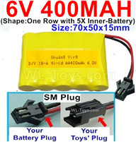 400mah 6V NiCd Battery Pack-AA 400mah 6 Volt NiCD Rechargeable Battery-With SM Plug,6V 400mah Ni-Cd Rechargeable Battery For RC Car Truck,(Shape-One Row With 5 Inner-Battery)-Size-70x50x15mm
