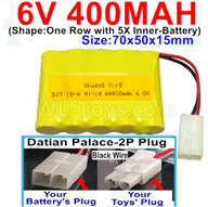 400mah 6V NiCd Battery Pack-AA 400mah 6 Volt NiCD Rechargeable Battery-With Datian Palace-2P Plug(The D-Shape hole is Black wire),6V 400mah Ni-Cd Rechargeable Battery For RC Car Truck,,(Shape-One Row With 5 Inner-Battery)-Size-70x50x15mm