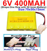 400mah 6V NiCd Battery Pack-AA 400mah 6 Volt NiCD Rechargeable Battery-With HuanQi-2P plug(1X Square hole+ 1X D-Shape Hole.The D-Shape Hole is Red Wire)-6V 400mah Ni-Cd Rechargeable Battery For RC Car Truck,,(Shape-One Row With 5 Inner-Battery)-Size-70x50x15mm